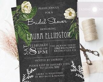 Beautiful Chalkboard Floral Invitation, Printable Bridal Shower Invite, Vintage, Floral Invitation, Bridal Shower, Floral, by jadorepaperie