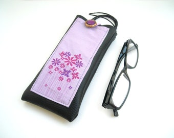 Lilac floral eyeglass neck holder, black faux leather case for glasses, lavender eyewear cover with lanyard , sunglasses or EpiPen case