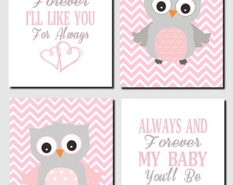 Pink and Gray Nursery Art, Owl Wall Art, Baby Girl Nursery Decor, I'll Love You Forever, Baby Girl, Baby Room, Set of 4, Prints or Canvas