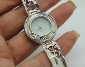 Israel Original Handmade Fine 925 sterling Silver opal Bracelet Watch