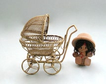 Dollhouse Miniature Furniture Baby Carriage Stroller Pram Buggy Dollhouse Furniture Miniature Decor Nursery Decor Baby Shower Gift Wire Gold
