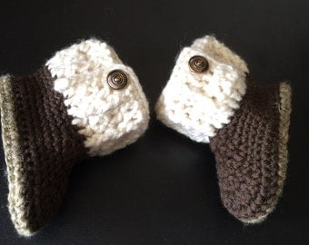 Crochet Baby Booties, size 6 to 9 months, Crochet Baby Boy Booties, Baby Booties, Brown and Aran Booties, Crib Shoes