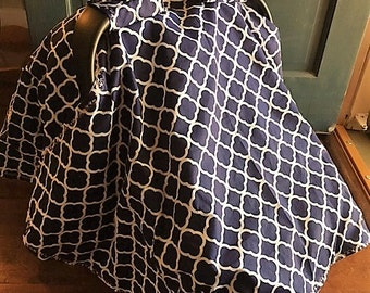 Baby Car Seat Cover, Matching Blanket, Car Seat Canopy, Custom Made To Order, Infant Car Seat Canopy, Baby Car Seat Canopy, Navy / White Lat