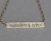 Sterling Silver - Necklace - Warrior - Bar Necklace - Surgery Recovery - Jewelry - Handcrafted - Anosia Custom Jewelry