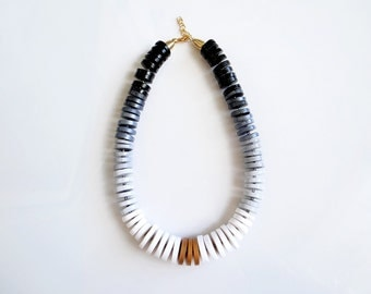 Chunky Statement Necklace, Black and White polymer Necklace, Modern Ombre Bib Necklace, Chunky Necklace