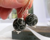 Black Carved Jade Earrings, Unique Artisan Gemstone Earrings, Black Earrings, Handmade Fashion Jewelry Womens Jewelry Gift for Her