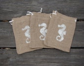 Burlap gift bag, seahorse design, rustic gift bag, gift wrap, gift card holder, nautical, ocean, teacher gift,