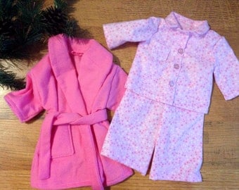 "Pink & White Pajama Set for 18"" Doll"