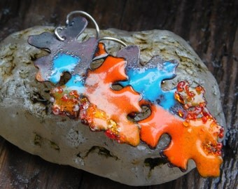 Enameled Autumn Leaves Earrings