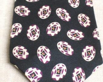 Vintage Tie, Black Silk Necktie, Mens Tie, Dress Tie, Print, Mark Shale, Preppy, Black, Designer, Mens Accessories, Mens Gifts, Mans Gifts