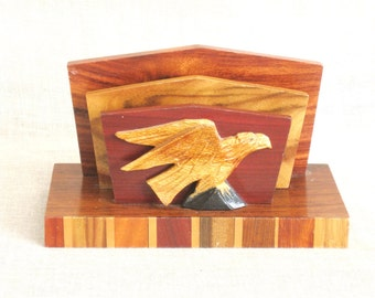 Vintage Wooden Letter Holder, Eagle, Bird, Rack, Mail, Desk Accessories, Storage, Organization, Card Holder, Handmade, Hand Crafted, Carved