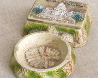 Ashtray, Souvenir, Washington DC, Indian Head, Pine Cones, Ceramic, Ring Dish, Souvenir Collectibles, State Souvenirs,Mid-Century,US Capitol
