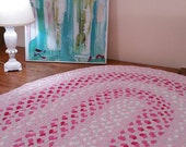 pink hearts braided rug , fushia,pink,white and light gray hand braided  from new cotton t shirts fabric