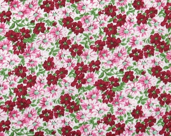 Flower Patch in Burgundy 100% Cotton Quilt Fabric for Sale, Marshall Dry Goods, Fat Quarter, Yardage