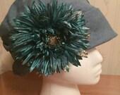 Vintage Blue Linen Cloche Hat Silk Flower Embellished