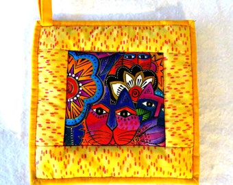 Potholder --Laurel Burch Cat Fabric in Yellow and Laurel's Signature Explosion of Colors, Hotpad, Mug Rug, Snack Mat
