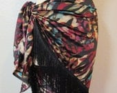Silky animal print fringed triangle Hip Scarf shawl Bellydance belly dance tribal fusion ATS cabaret