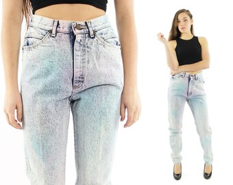 Vintage 80s LEE High Waisted Jeans Acid Washed Denim Skinny Tapered Legs 1980s Medium M