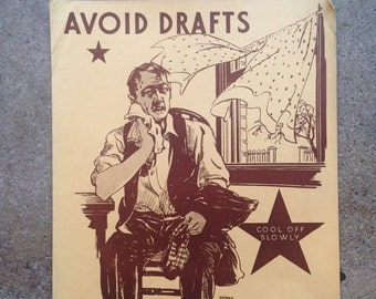 "ON SALE 40% OFF 1930's ""Avoid Drafts"" Poster - Harold Cressingham - Original U.S. Depression era"
