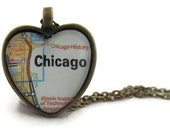 Chicago Map Necklace, Illinois,  Heart Pendant with Chain, Chicago Jewelry, Bronzed or Silver