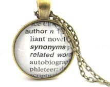 Author  Definition Necklace, Writers Necklace, Authors Necklace, Dictionary Pendant, Bronzed or Silver Plated