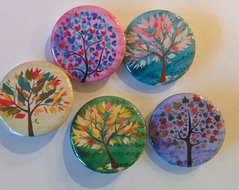 Colorful trees 5 button pin or magnet gift set.  Chose 1 or 1.25 inch
