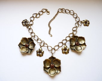 Vintage Boho Flower Necklace with Topaz Crystals Antiqued Bronze - 19 Inch Chain