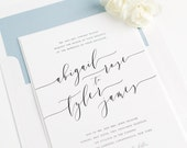 Romantic Calligraphy Wedding Invitation - Dusty Blue, Blue, Whimsical  - Dramatic Wedding Invitations - Romantic Wedding Invitation