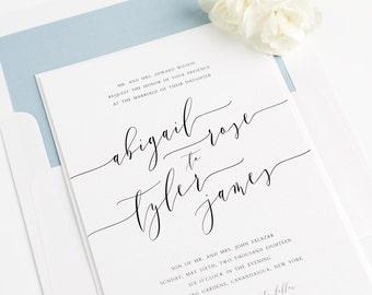 Romantic Calligraphy Wedding Invitation - Dusty Blue, Blue, Whimsical  - Dramatic Wedding Invitations - Romantic Wedding Invitation