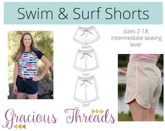 Women's Swim and Surf Shorts PDF Pattern 2-18