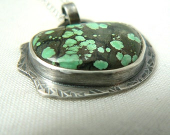 Oxidized Sterling silver and Turquoise Pendant - Jewelry 925 Gemstones - READY TO SHIP