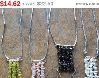 Clearance Structural gemstone chip necklaces, stone pendant necklace, long bohemian layering necklace, modern tribal design, indie boho s...
