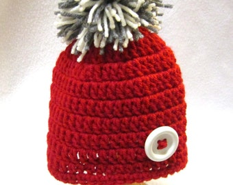 Red Beanie Cap with Cream and Gray Pom Pom and White Button, Baby Boys or Girls Red Hat by Crocheted by Charlene MADE TO ORDER