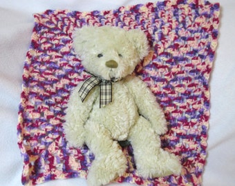 Crochet Granny Square Doll Blanket, Doll Afghan, Teddy Bear Blanket, Dollhouse Quilt, Table Doily, Pink and Purple Doll Quilt
