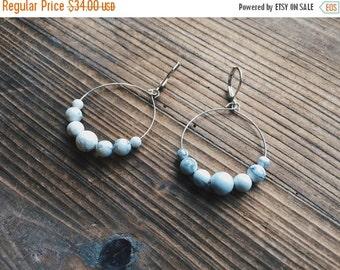 Howlite Gemstone Silver Mini Hoop Earrings White Gemstone Earth Gemstone Jewelry Handmade in Indiana By Rana Salame Jewelry Gemstone Hoops