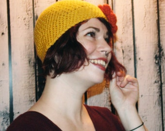 Mustard and Terra Cotta Flower Crochet Hat With Flower