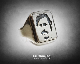 Pablo Escobar BOSS Mafia Medellín Cartel drug lord Ring Solid Sterling Silver 925 By Ezi Zino