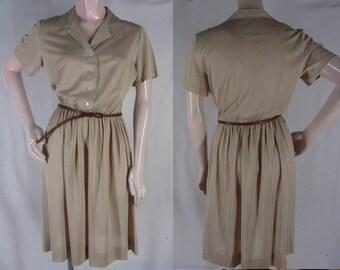 60s Shirtwaist M Brown White Checked Jersey Knit Dress Short Sleeve