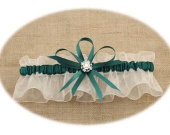 Sheer Ivory and Hunter Green Wedding Garter, Keepsake Garter, Prom Garter
