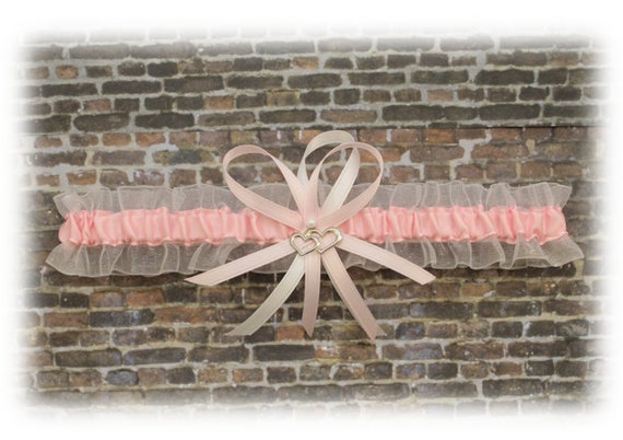 Pink and White Wedding Garter with Double Heart Charm