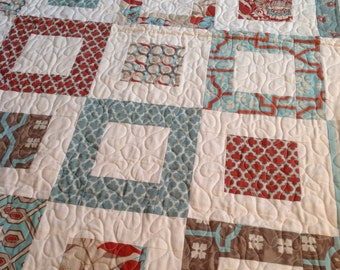 Deer Valley Lap or Baby Quilt-- pattern also available --blue, aqua, red, cream, tan, taupe