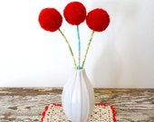 Red Yarn Pom Pom Felt Flowers.  Cherry Red floral bouquet.  Holly.  Felted Wool Balls.  Faux Fake Flower.  Retro, Atomic, Modern Arrangement