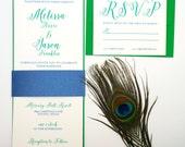 Real Peacock Wedding Invitation
