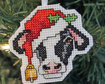 Handmade Cow Cross Stitch Christmas Ornament