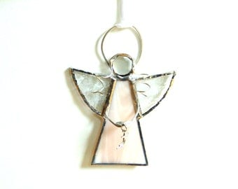 Angel suncatcher, stained glass angel, suncatcher ornament, wispy peach, faith, shooting star angel, small angel gift under 20