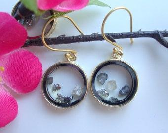Floating Druzy Drusy Crystal 24K Gold Vermeil Earrings