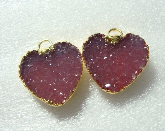 Druzy Drusy Heart Pendant 24K Gold Edged, Beautiful Dyed Dreamy Pink over Red Druzy Heart Pendant,12mm, o11-PR