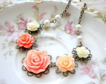 Flower Girl Necklace Wedding Jewelry Flower Girl Gift Peach Necklace Gift For Flower Girl Children Necklace Junior Bridesmaid Gift