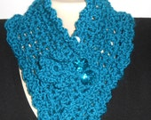 Teal crocheted neck warmer with flower buttons and ruffles//crocheted//scarflette//gift for her//20% off use code: ClearanceSale