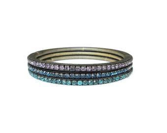 Joseph Warner, Bangle Bracelets, Rhinestone Bracelet, Vintage Bracelet, Pink Blue Green, Stretch Expansion, Spring Flex, Vintage Jewelry